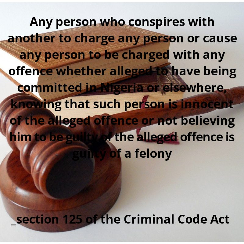 Criminal code on conspiracy to falsely accuse