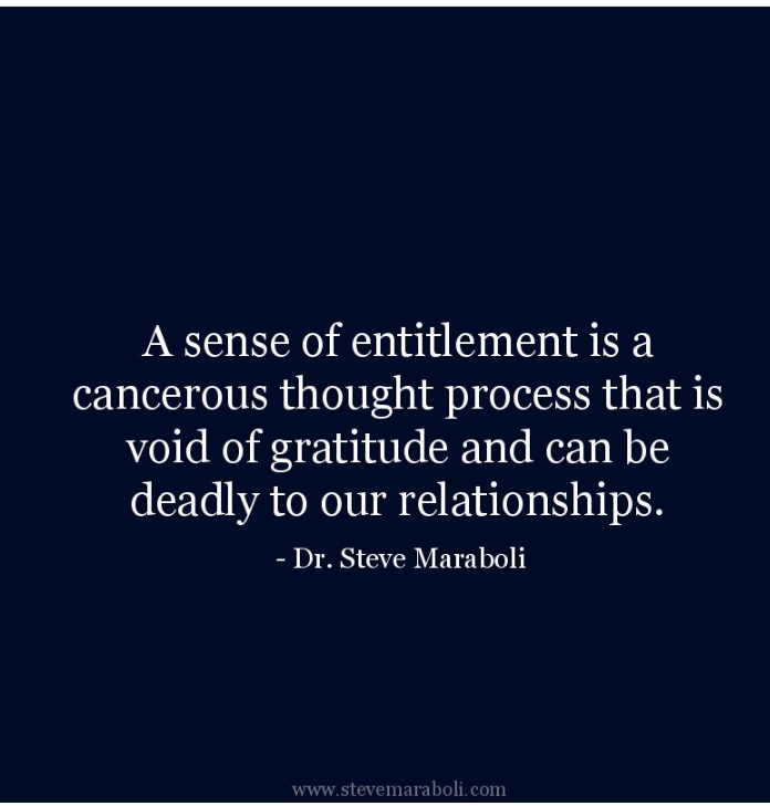 Dr Steve Maraboli on sense of entitlement.